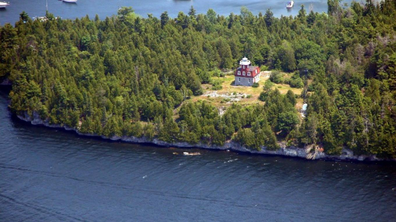Aerial View of Bluff Point Lighthouse at Valcour Island – Doug & Roger Harwood