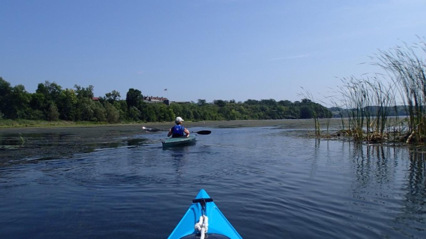 Kayaking near the mouth of La Chute River,  with Fort Ticonderoga in the distance. – Courtesy of Cathy Frank