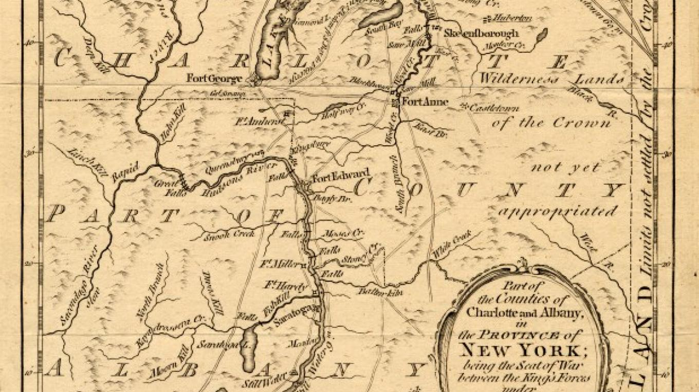 Map of New York in 1778 – Fort Ticonderoga