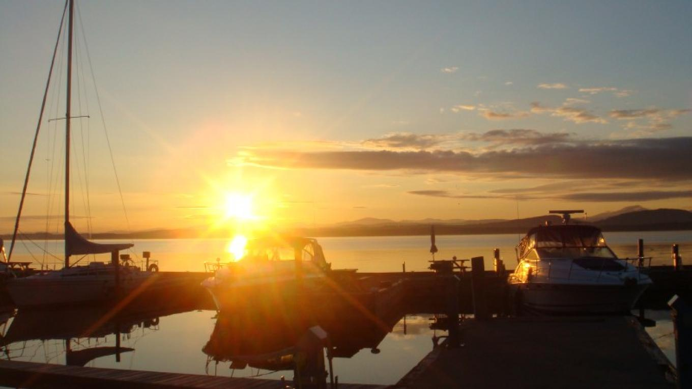 Magnificent sunrise on Lake Champlain. Seen from Essex Shipyard – Ray Faville
