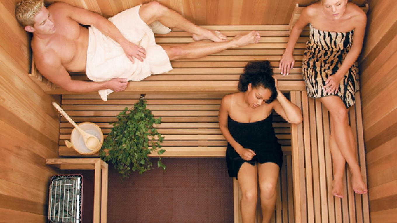 The sauna at The Fern Lodge is a popular spot after a day of skiing at nearby Gore Mountain.