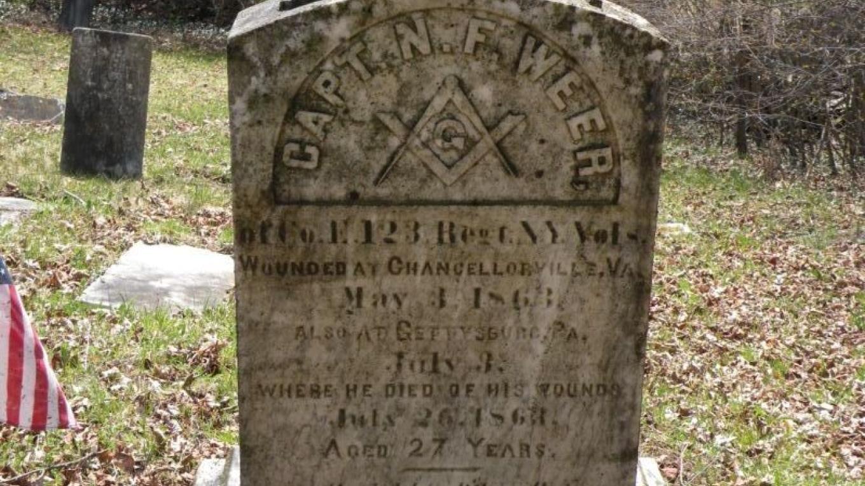 Capt. Weer's grave  Died at Gettysburg – Swano