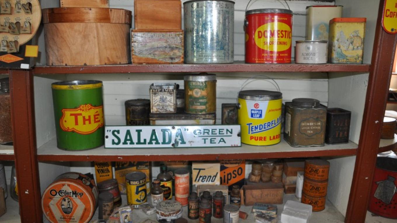 Shelves from Hodge's General Store hold original merchandise from the 1930s. – Heather Darch