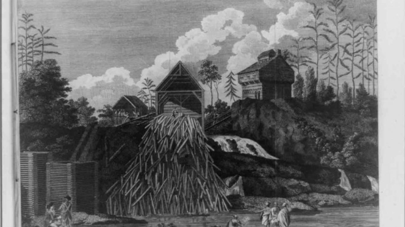 a view of sawmill and block house upon fort ann creek burned by americans prior to burgoyne thomas aubrey – Library of Congress