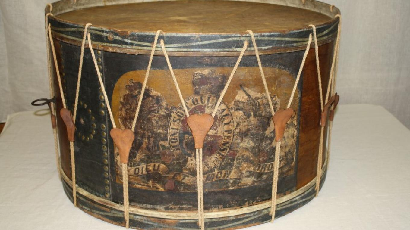 The Van Vliet Bass drum circa 1837 is currently on display in the Cornell Mill site. The drum was carried at the Battle of Odelltown by Traver Van Vliet (1800-1890) an ensign in the Odelltown Loyal Volunteers – Heather Darch