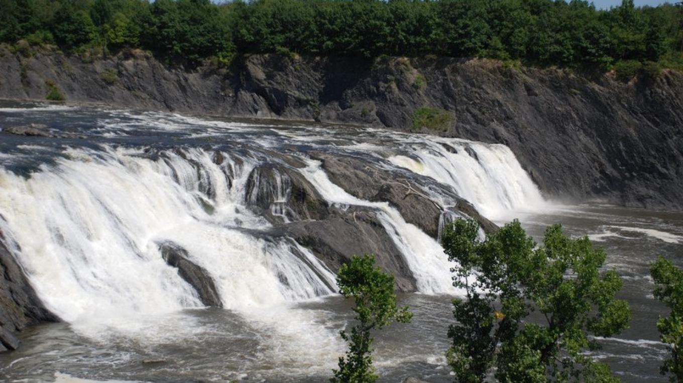 View of the Cohoes Falls from Falls View Park located in Cohoes, N.Y.