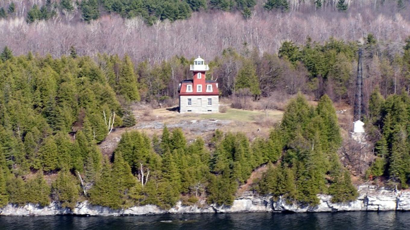 Aerial View of Bluff Point Lighthouse at Valcour Island. – Doug & Roger Harwood