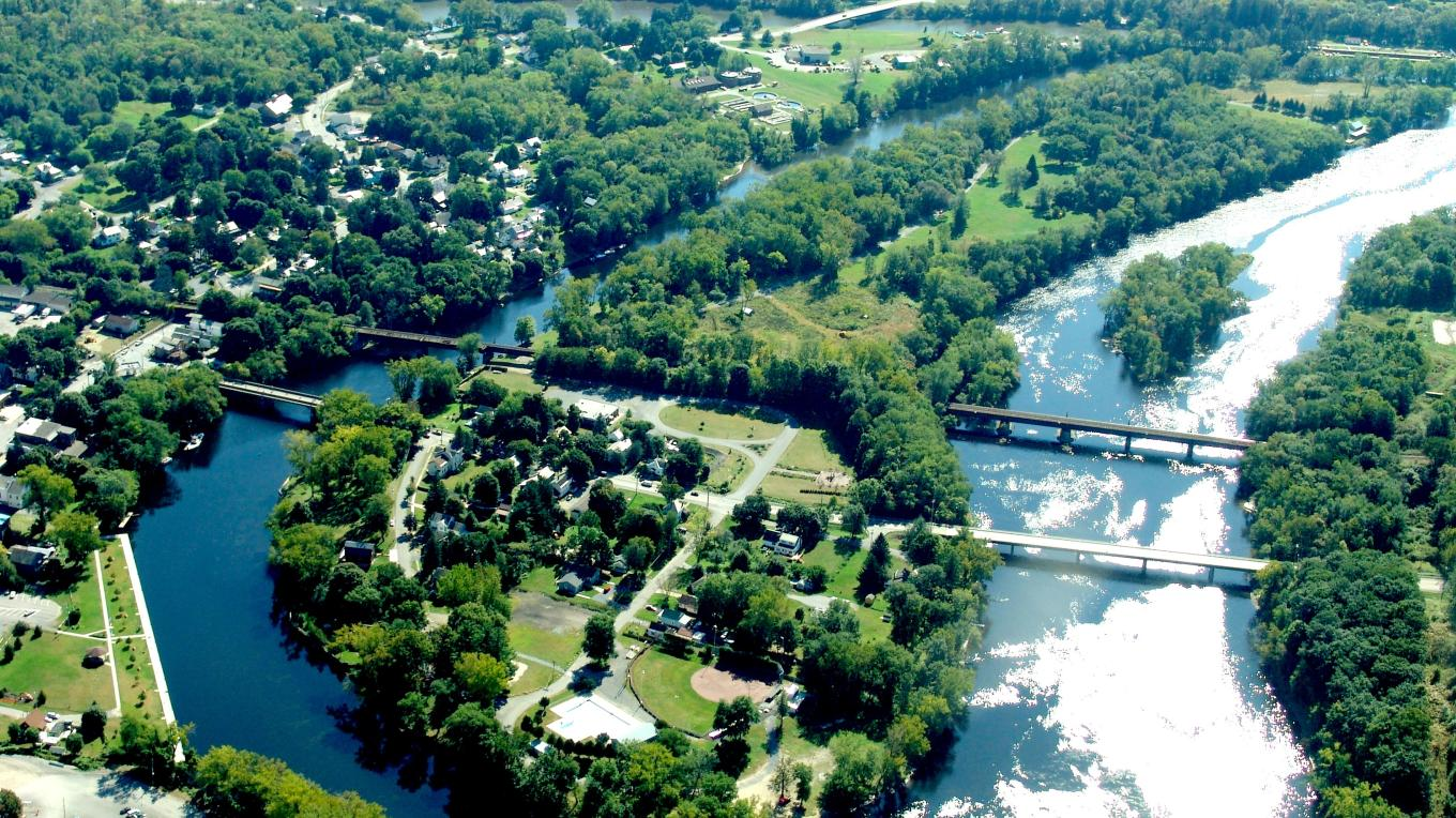 Aerial view of Rogers Island in Fort Edward, NY. Provided courtesy of Roger's Island Visitors Center. – Randy Patton