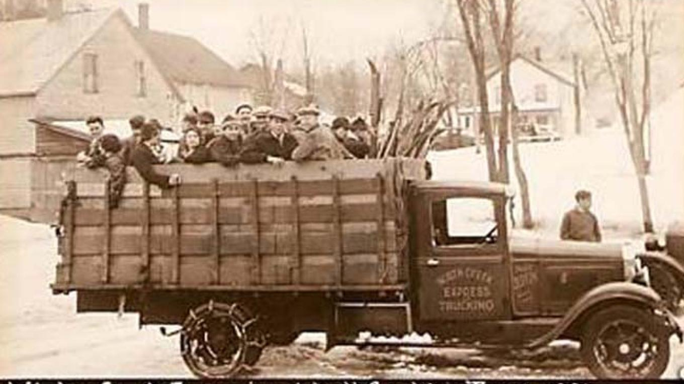 Rack truck carrying Ski Train passengers to Gore Mountain – Unknown