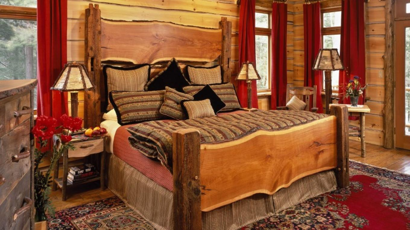 """Our Guest room """"Pine"""" with King-size bed, lakeview porch, fireplace, jaccuzzi, and steam shower. – Randall Perry Photography"""