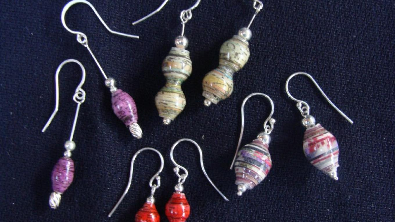 Earrings from the paper beads, some from junk mail and others from news paper – Winefred Martin