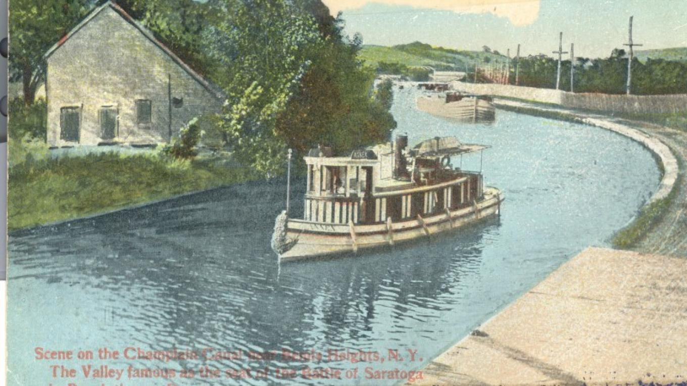 Postcard of Steamer on the Canal near Bemis Heights – Stillwater Town Historian