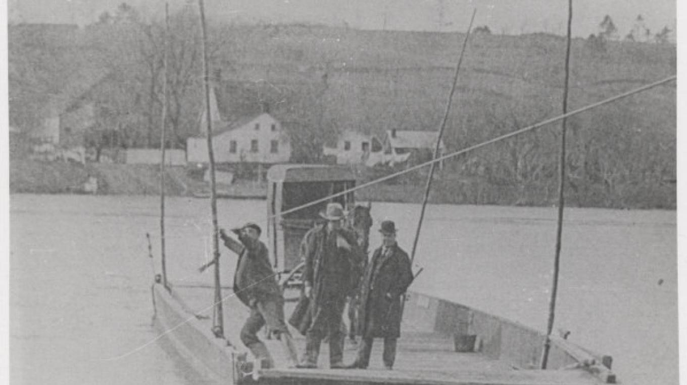In the days before bridges spanned the river, ferries performed a critical service. A rope or cable strung across the river would guide the ferry scow, and a toll was charged for the service. – Town of Clifton Park History Collection
