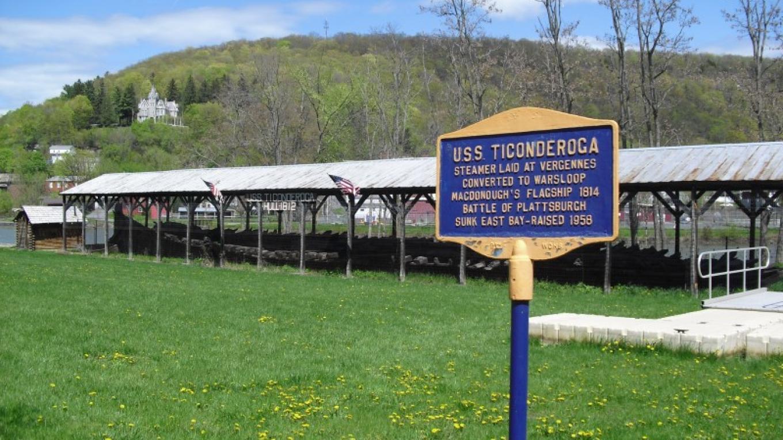 USS Ticonderoga skeleton outside Skenesborough Museum – Drew Alberti