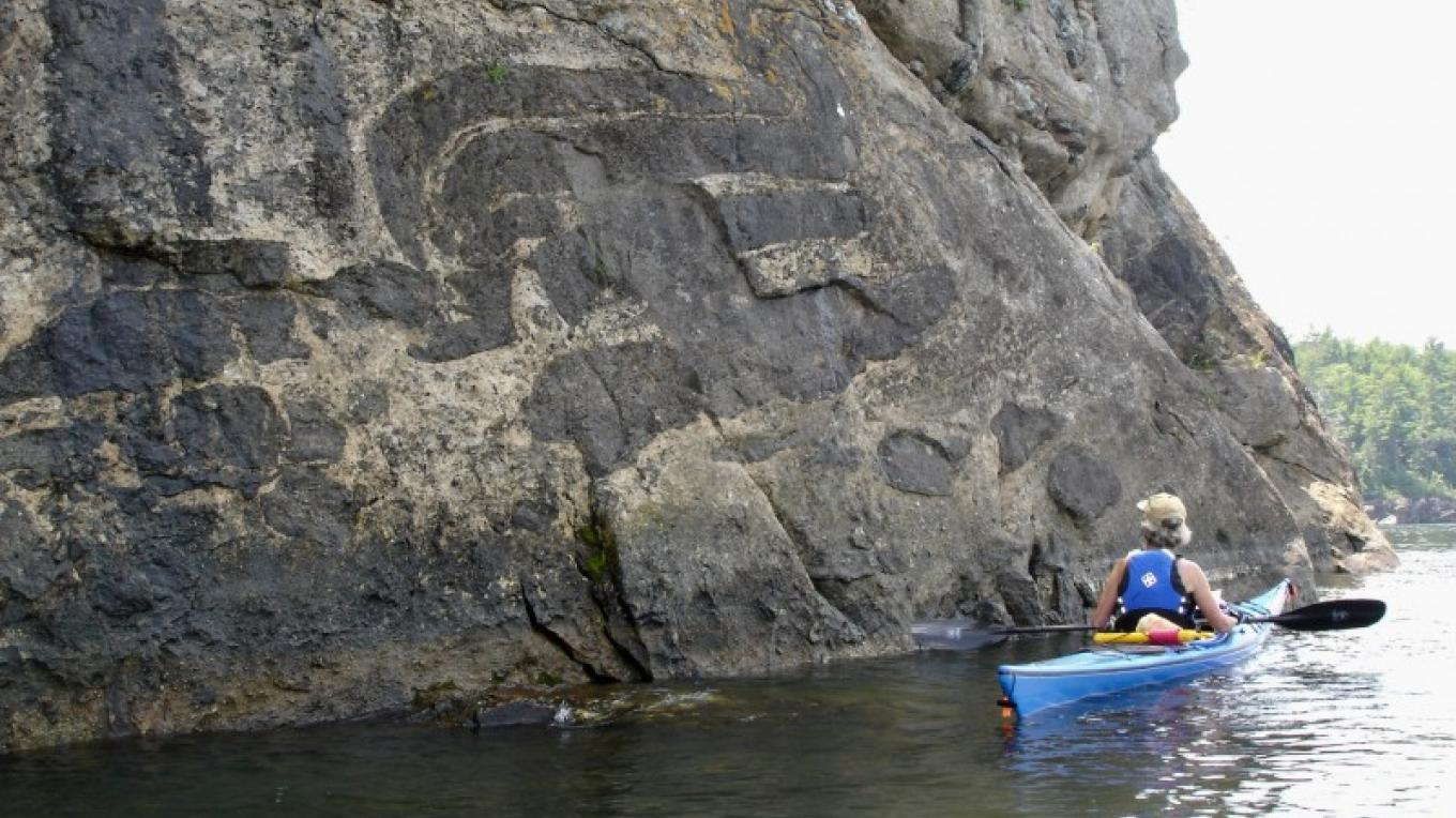 Nature's hieroglyphs along Split Rock. – Courtesy of Cathy Frank