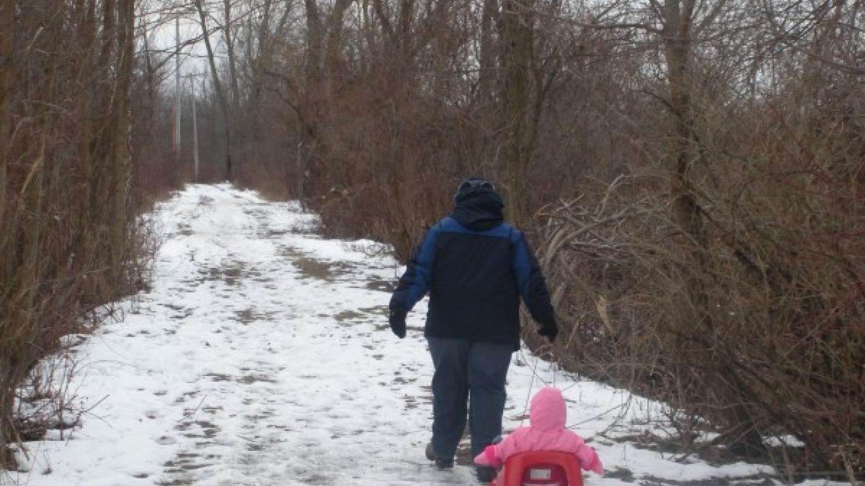 Winter walk down main trail in Preserve. – Myla Kramer