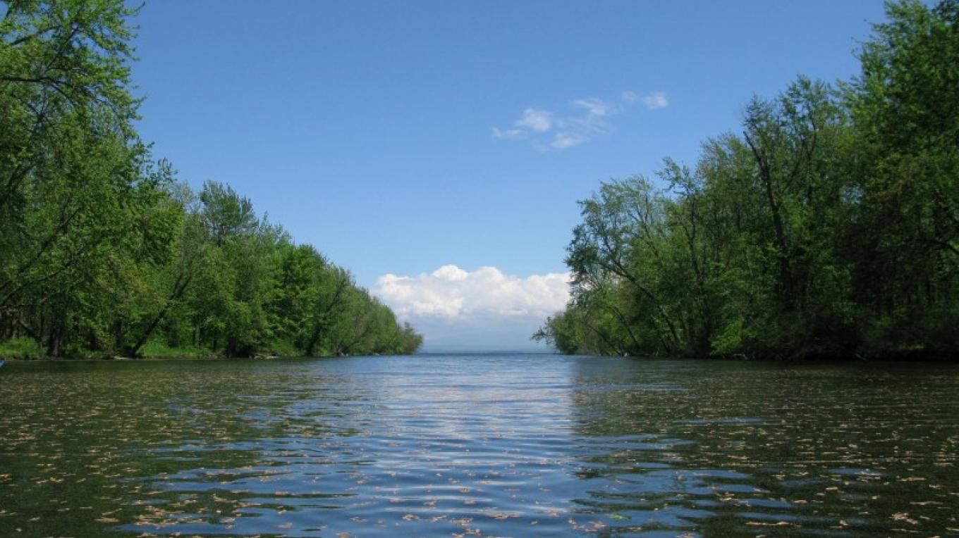 Ausable River, looking toward the lake. – Courtesy of Cathy Frank, A Paddler's Guide to the Champlain Valley