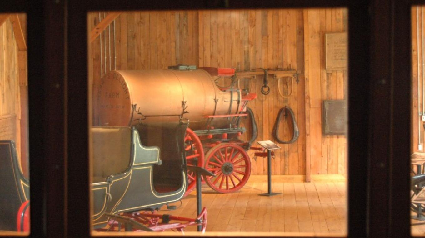 Inside the Coach House at the Heart's Delight Farm Heritage Exhibit
