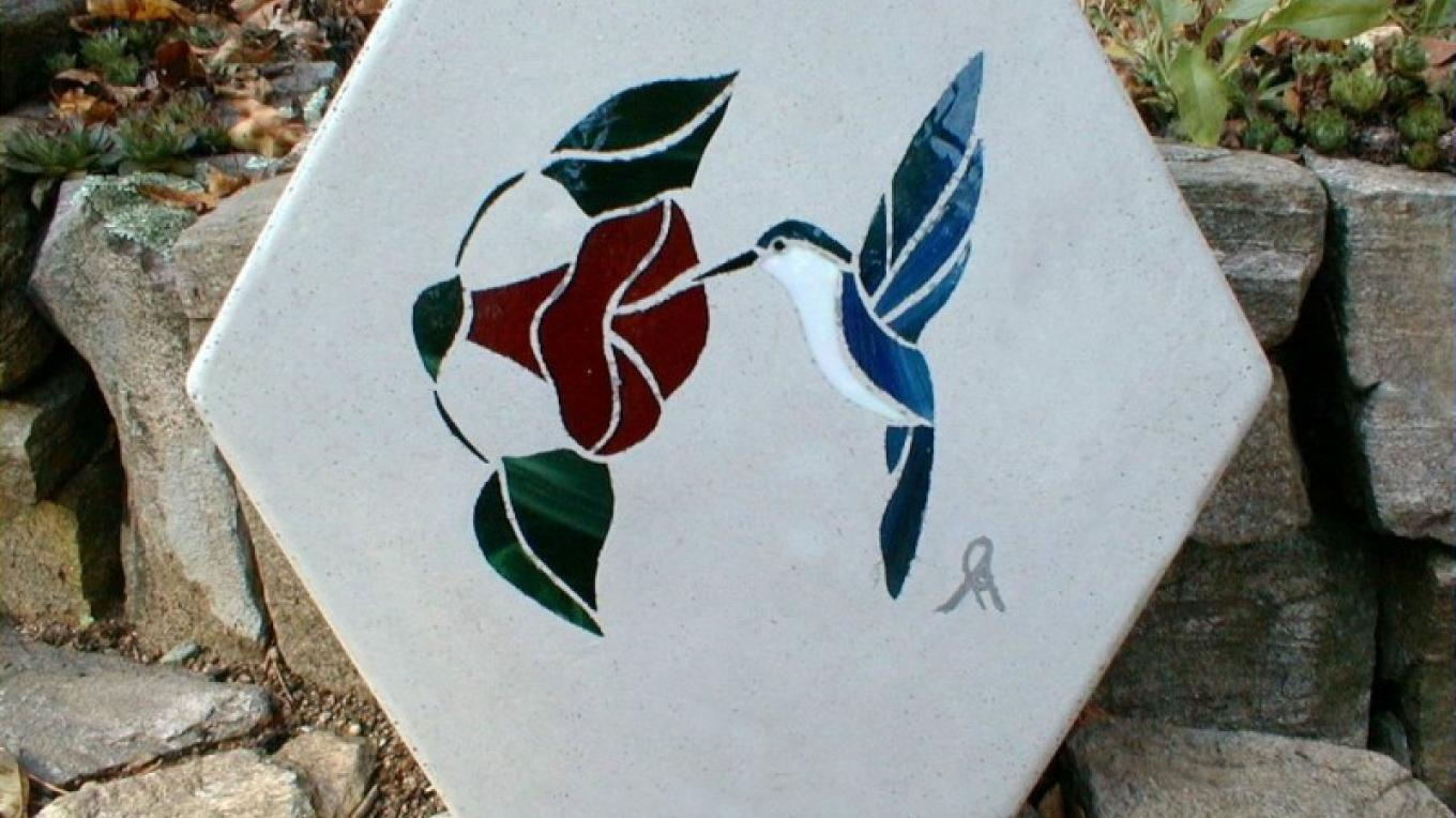 The dragon fly. One of our standard designs of the larger stepping stones – Winefred Martin