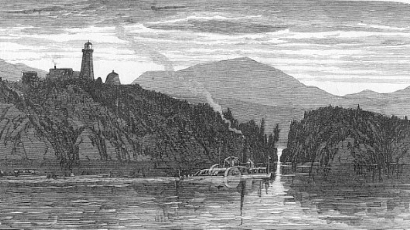 Wood engraving of Split Rock, 1872. – Wikimedia Commons