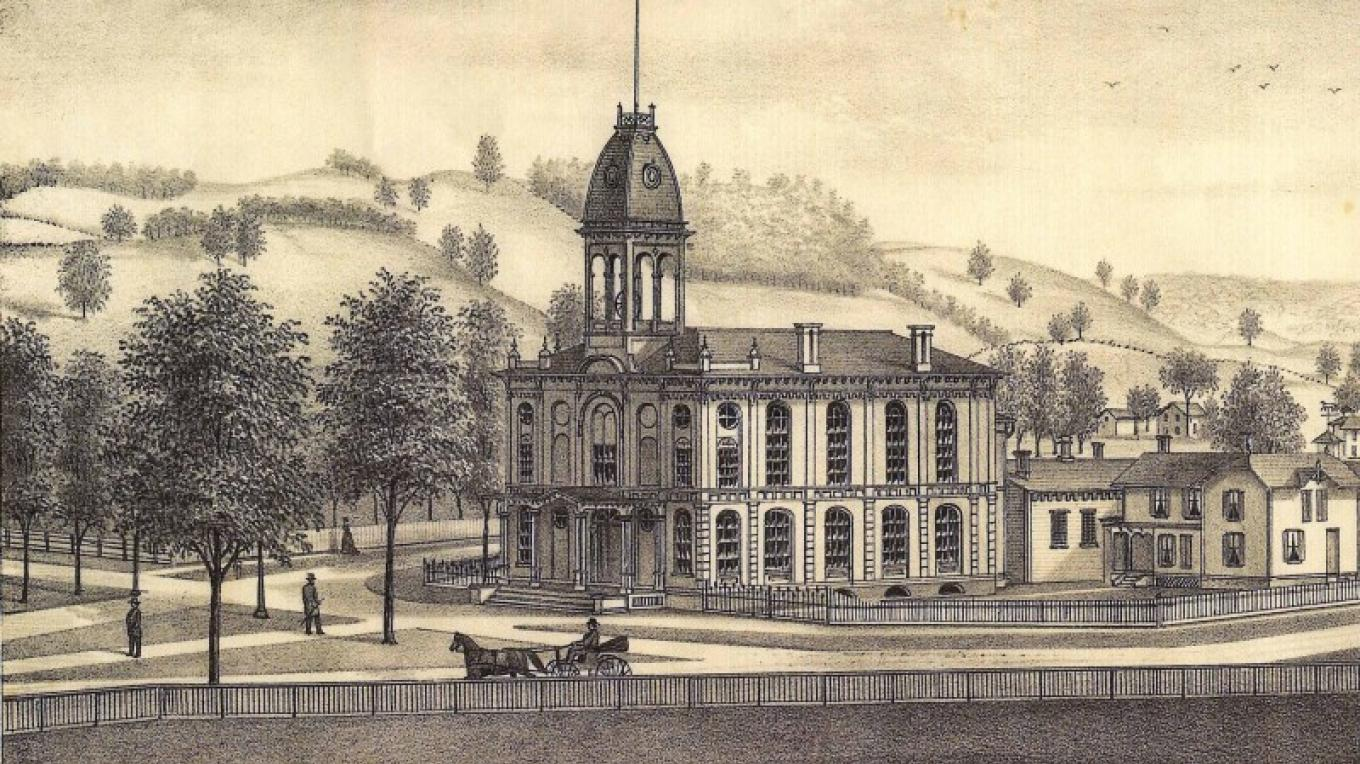 Old Courthouse Lithograph Circa 1869 – L.H. Everts & Co.