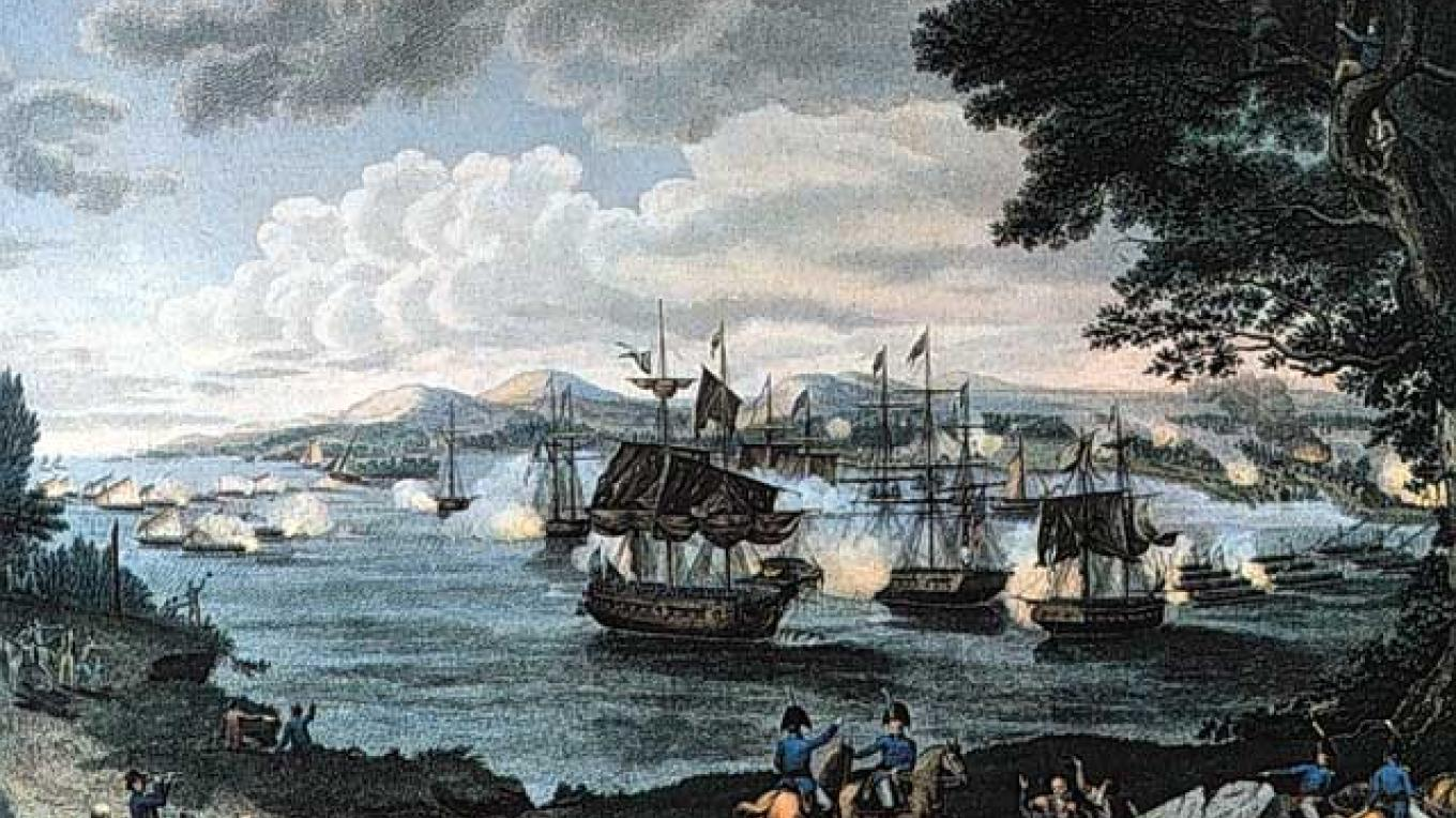 Naval Battle on Lake Champlain (Battle of Plattsburgh) – Engraving by B. Tanner (1816) Courtesy of Wikimedia