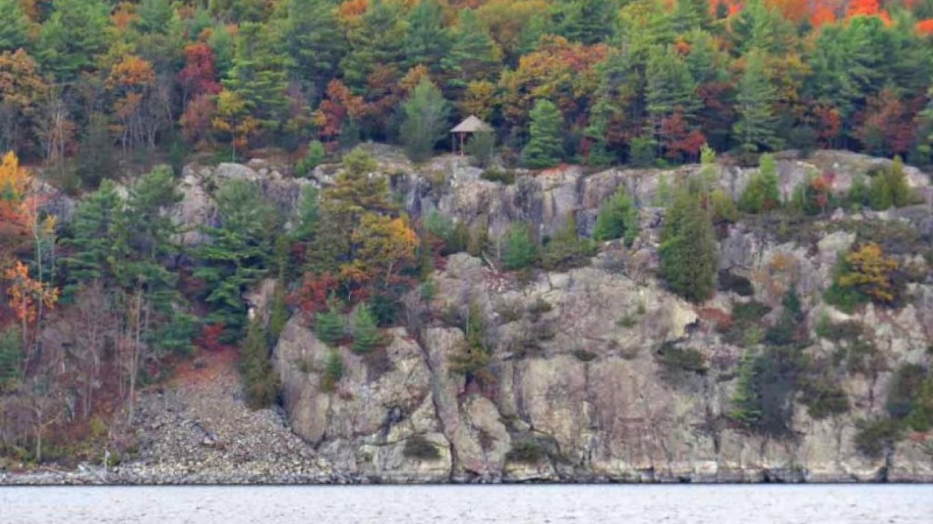 The cliffs along the west side of Willsboro Bay during fall. – Courtesy of Dr. Sing H. Lin