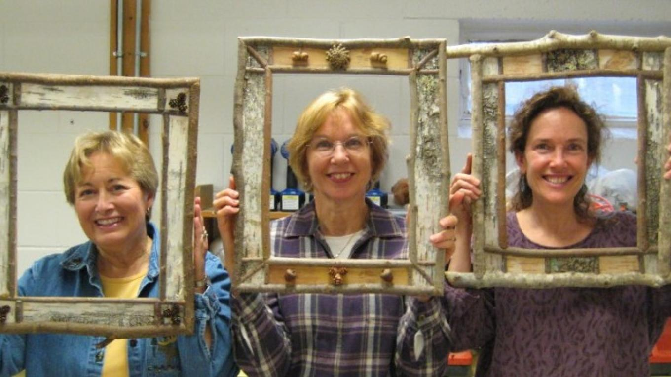 Birch Bark Picture Frames and Mirrrors - one of our most popular classes.