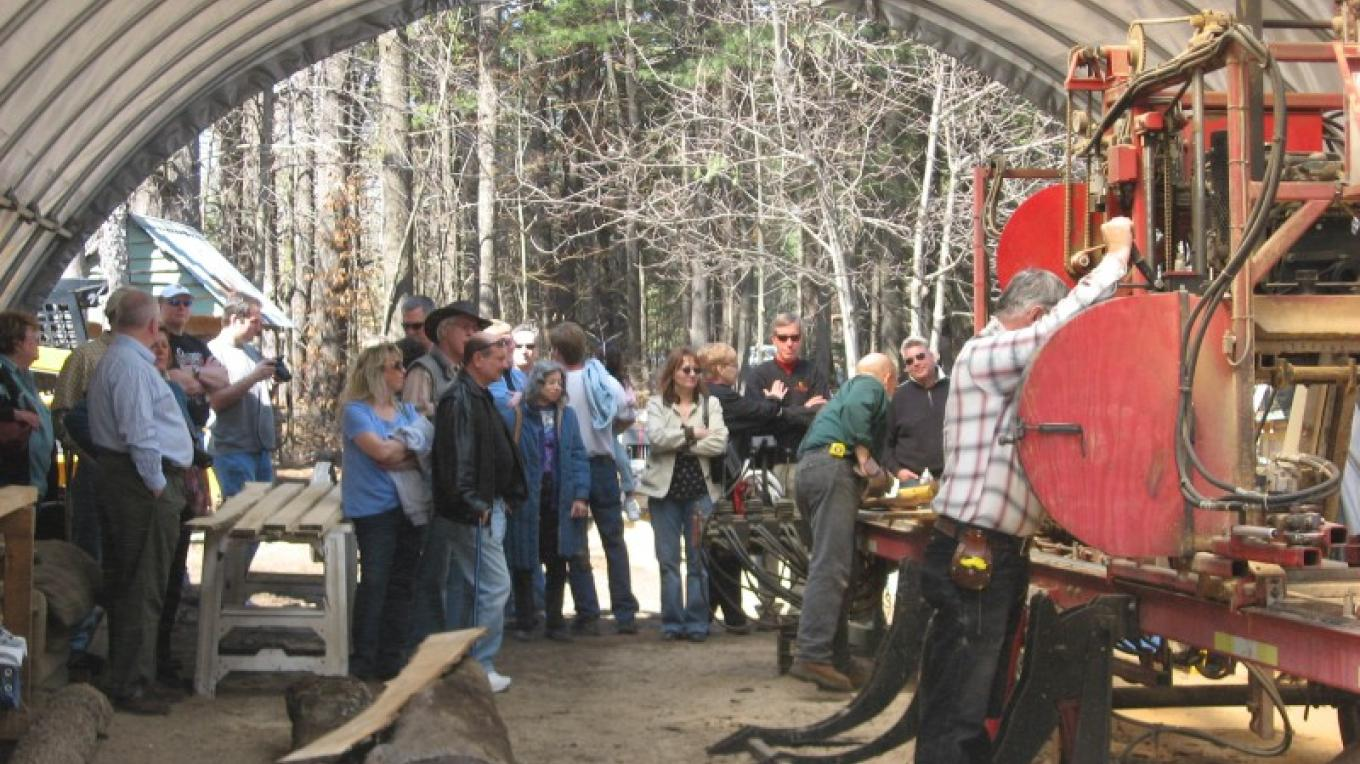 Saw mill demonstration during a Maple Weekends Tour – Winefred Martin