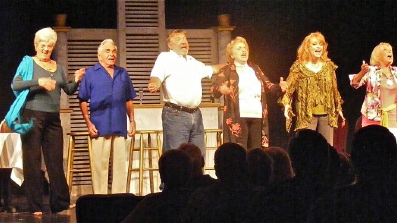 "Fort Salem host original musicals with Broadway and professional casts. This finale shot captures the cast of ""Senior Moments,"" with a cast including 2 actors in their sixties, 3 in their seventies, and 2 in their eighties. – David O'Keefe"