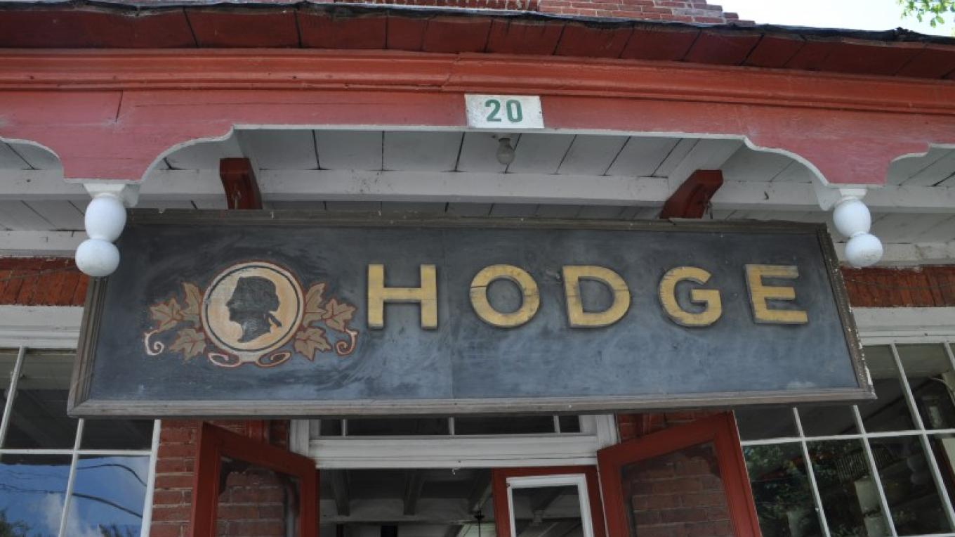 Image of the Hodge sign above the general store – Heather Darch