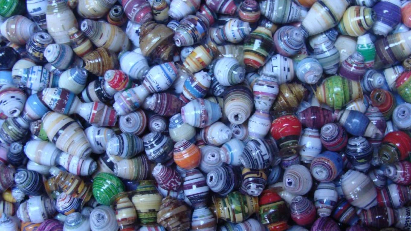 Paper beads from news paper and junk mail. – Winefred Martin