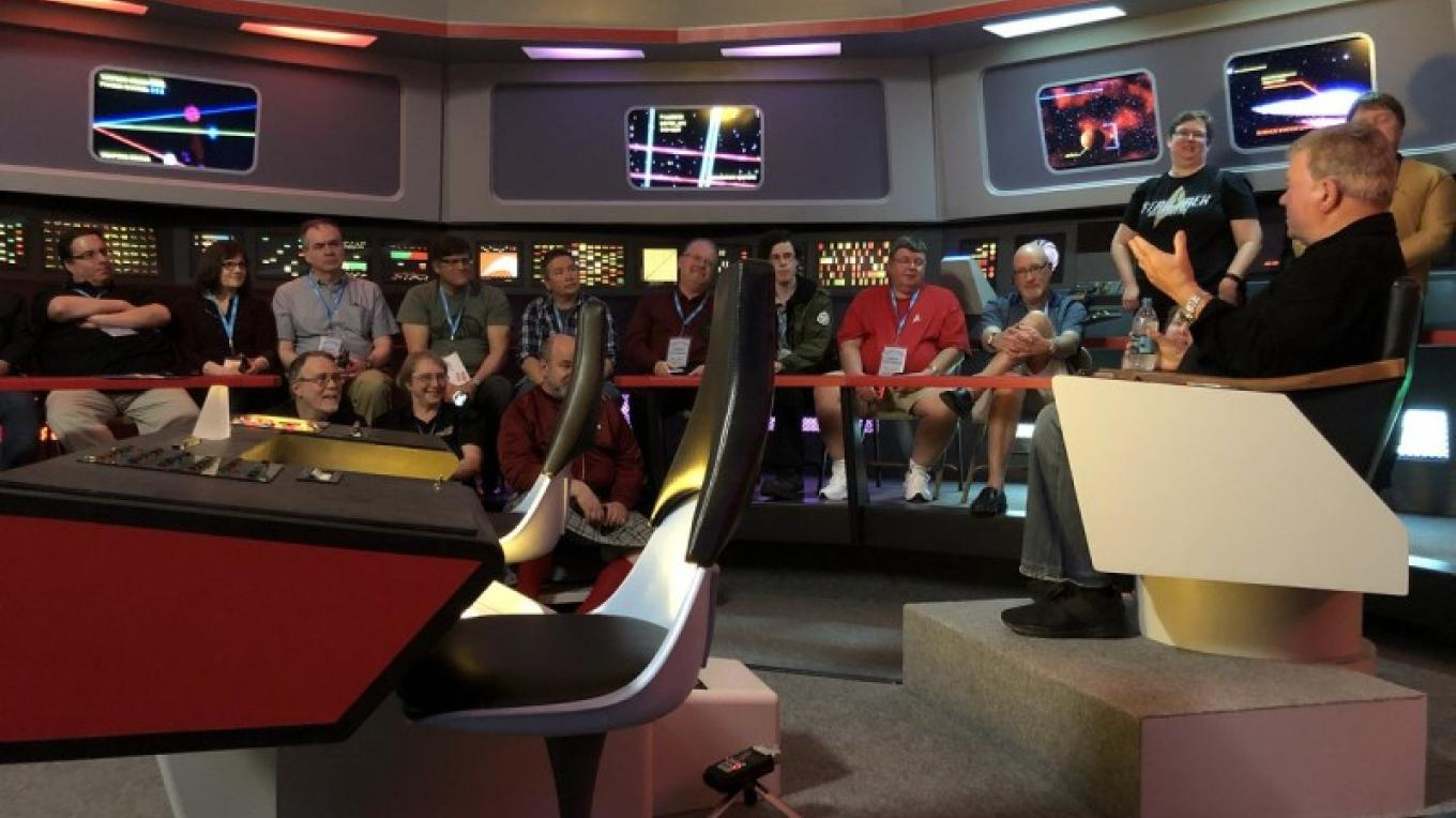 William Shatner On The Full Bridge after 49 years! – Courtesy Star Trek Tour - unknown photographer