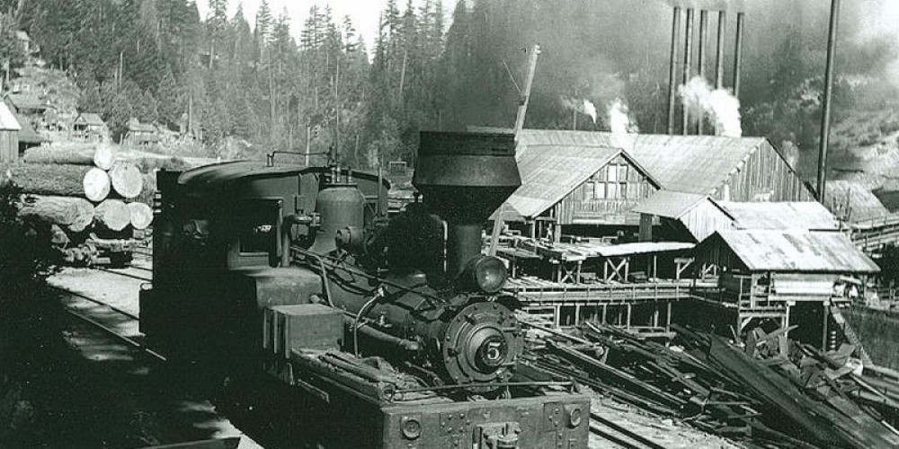 A shay locomotive awaiting the next run, paused in front of the mill. – Photos courtesy Library of Congress and Calif State Library