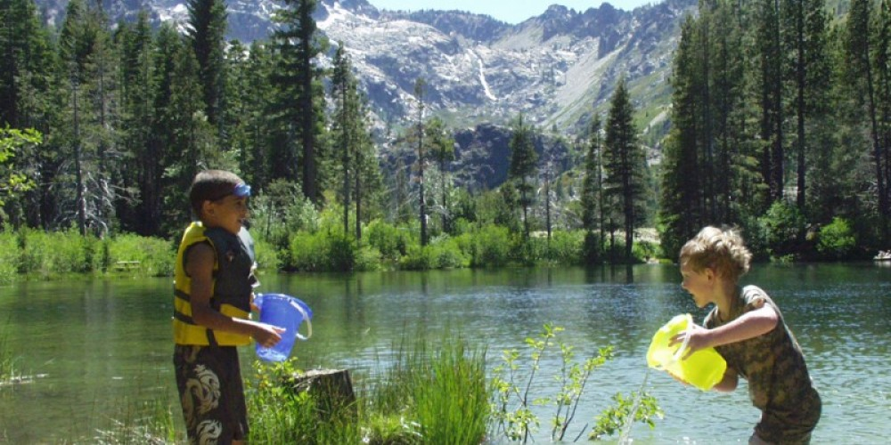 Playing in a lake below the Sierra Buttes – Mary Davey