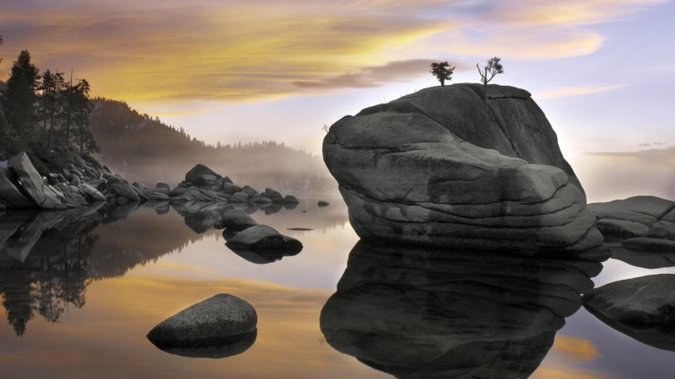 """Sunset, Bonsai Rock"", is one of Elizabeth Carmel's photographic prints, and is also featured on the cover of her first book, ""Brilliant Waters"" in which Robert Redford wrote the forward. – Elizabeth Carmel"