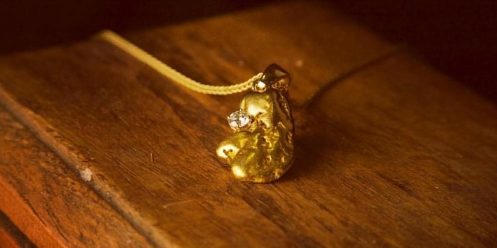 Gold Nugget and Diamond Pendant