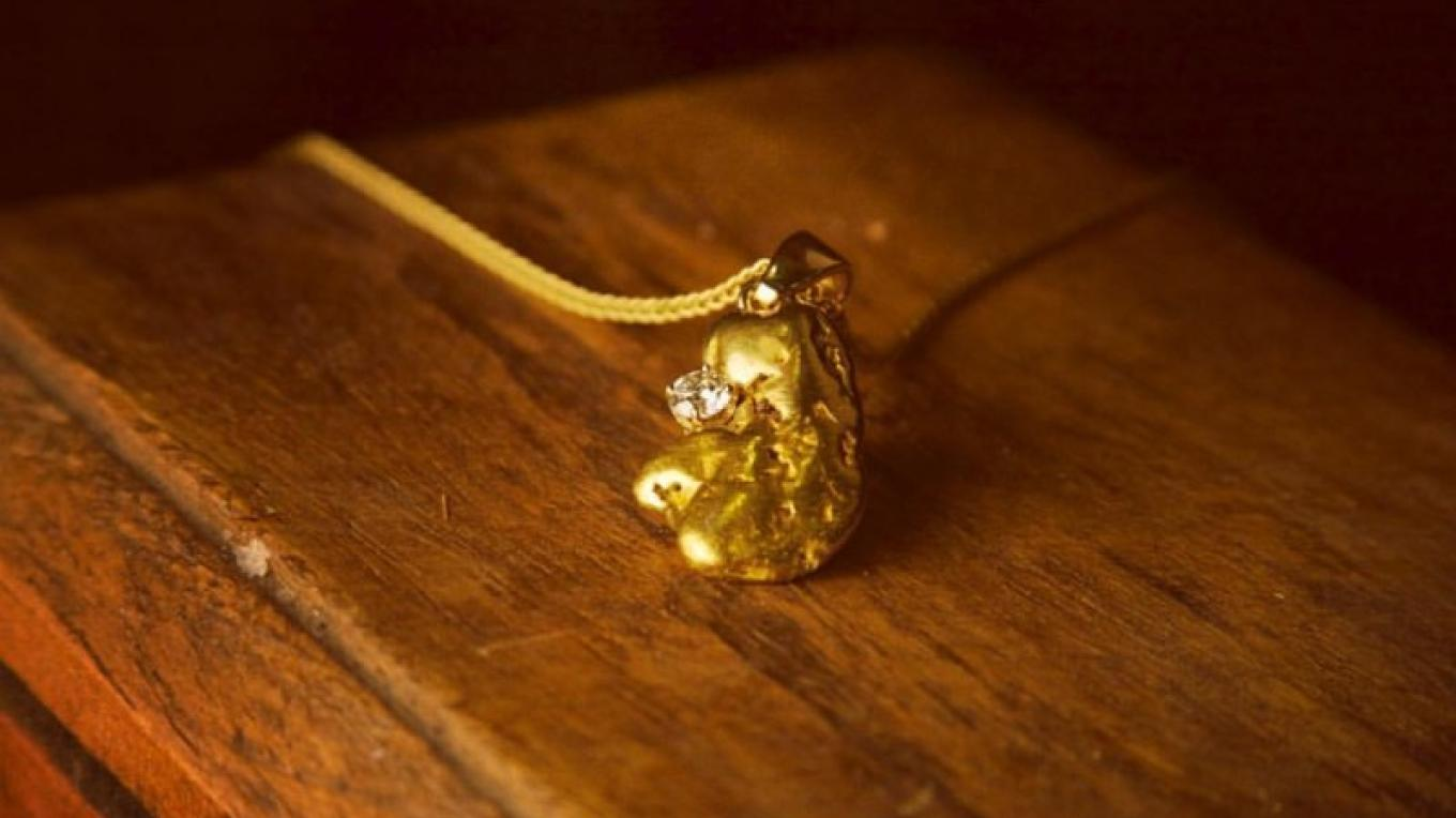 Gold Nugget and Diamond Pendant