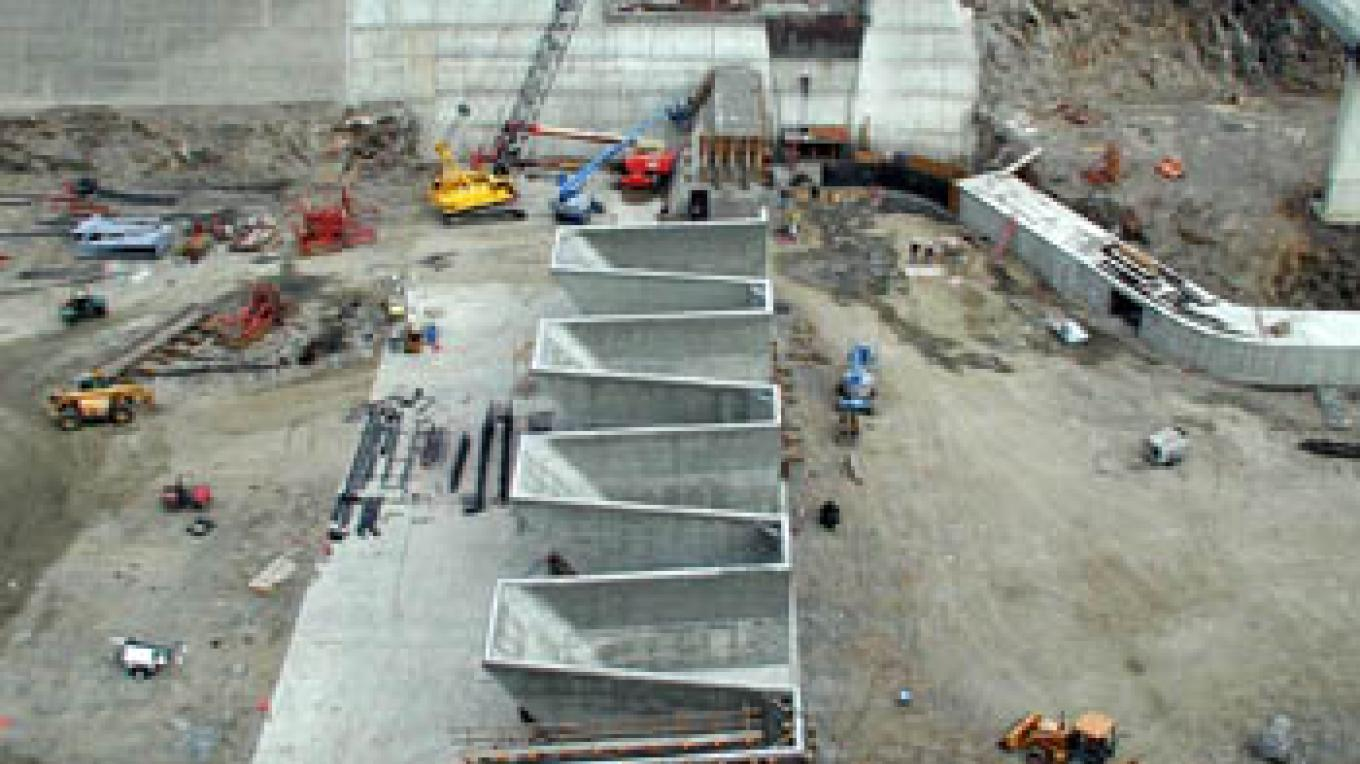 Building the fusegates – Provided by USACE