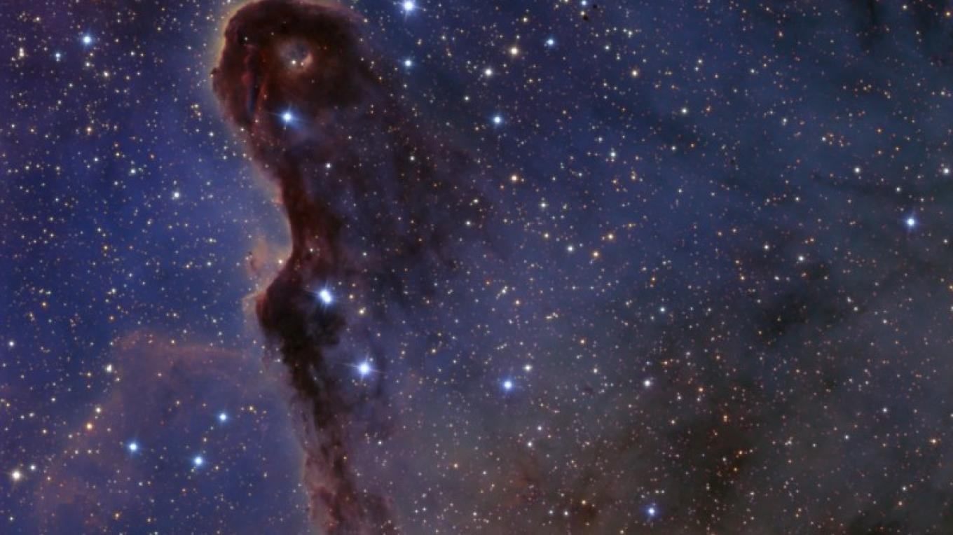 """IC1396 - """"The Elephanf's Trunk"""""""" - An emission nebular complex glowing from the powere of the brightest blue star in the image. Photo taken in Camino, Calif. – Ken Crawford"""