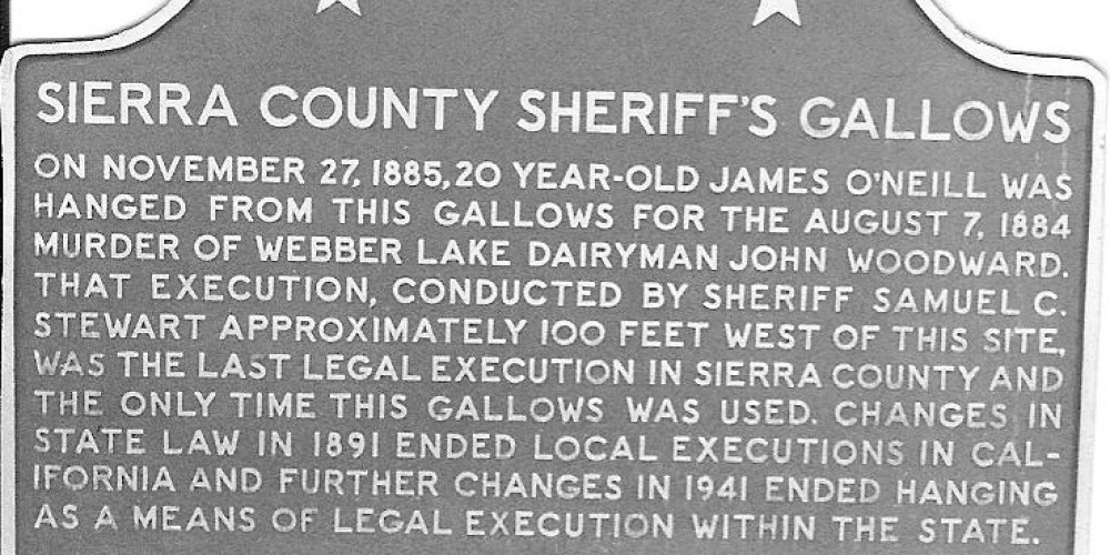 State historica landmark plaque No. 971, Sierra County Sheriff's Gallows – Lee Adams