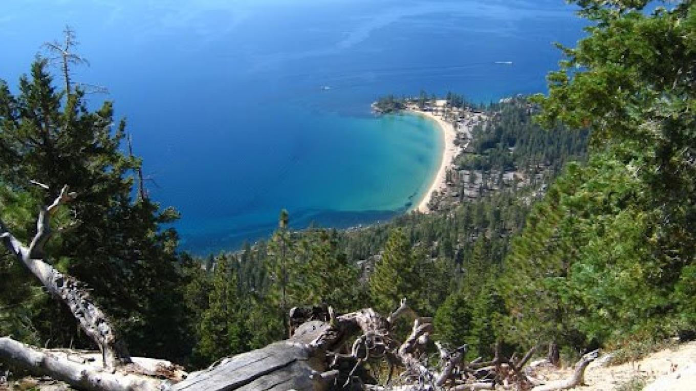 Sand Harbor, Lake Tahoe from the Tahoe Rim Trail at the famous Flume Trail mountain bike trail. – Tahoe Expo