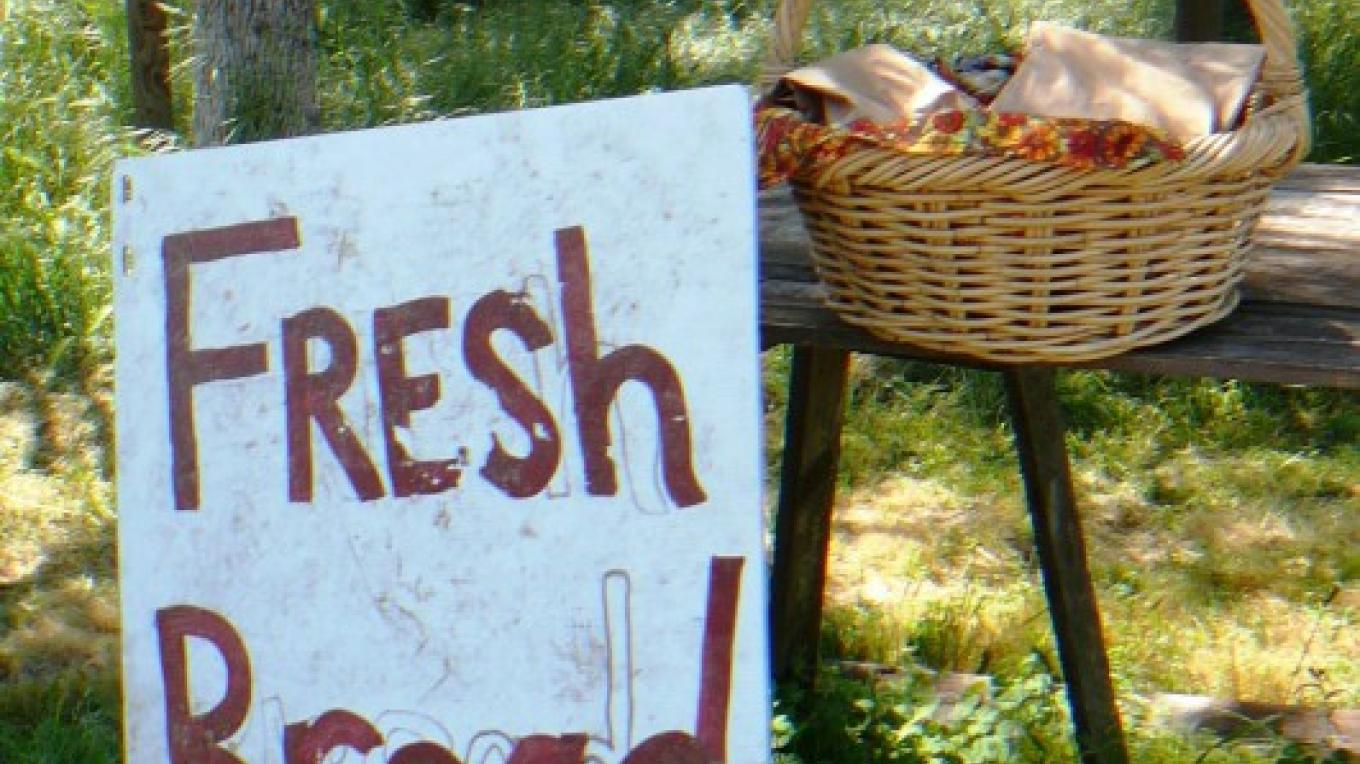 Bread for sale on the honor system SJ&E road – Susan Leeper