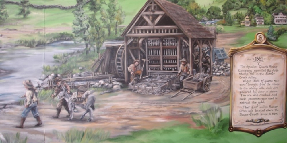 Closeup of the mural in the Sutter Creek Visitor Center Office – Klosowski