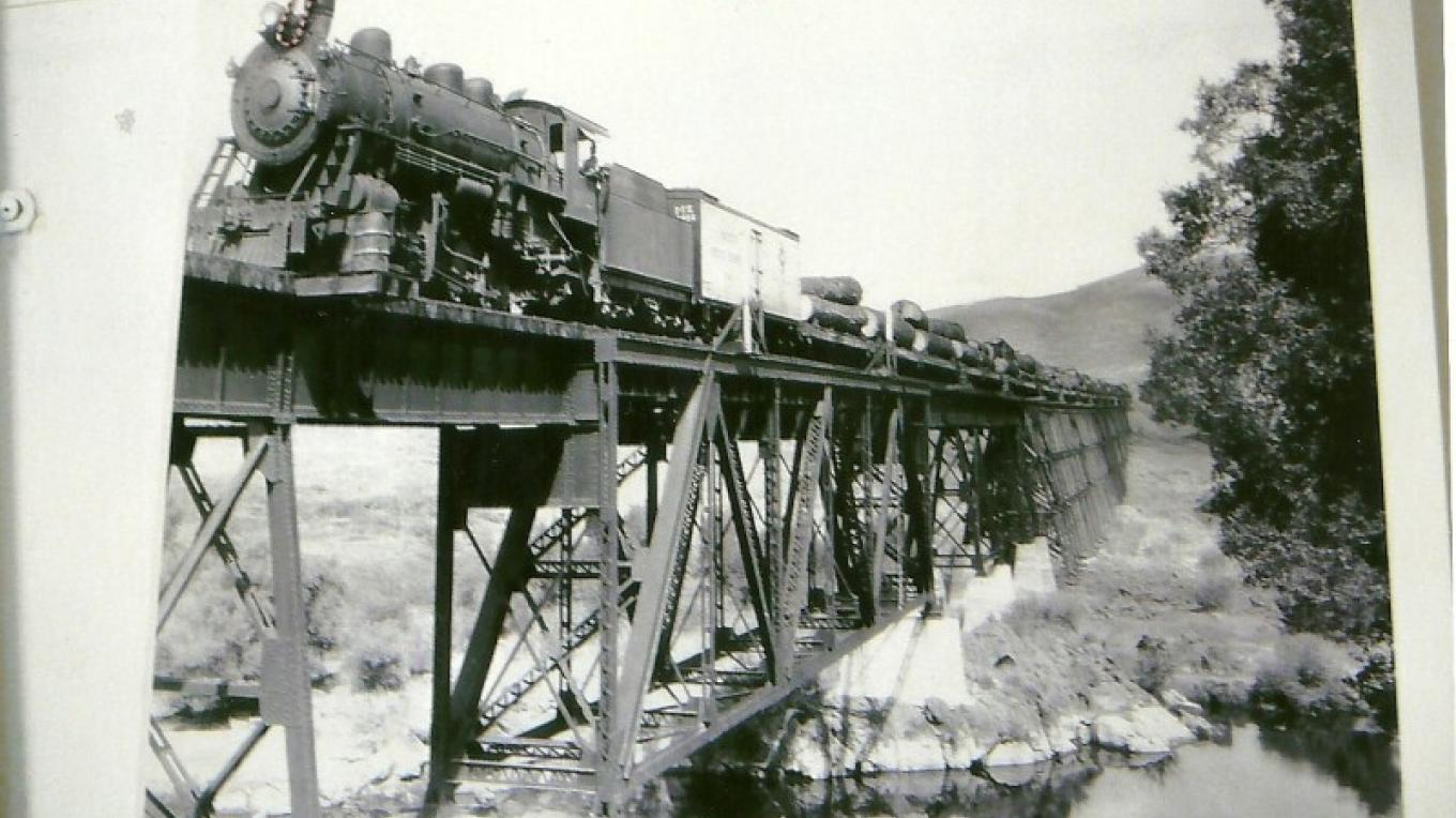 Vintage trestle bridge photo at the museum – Unknown