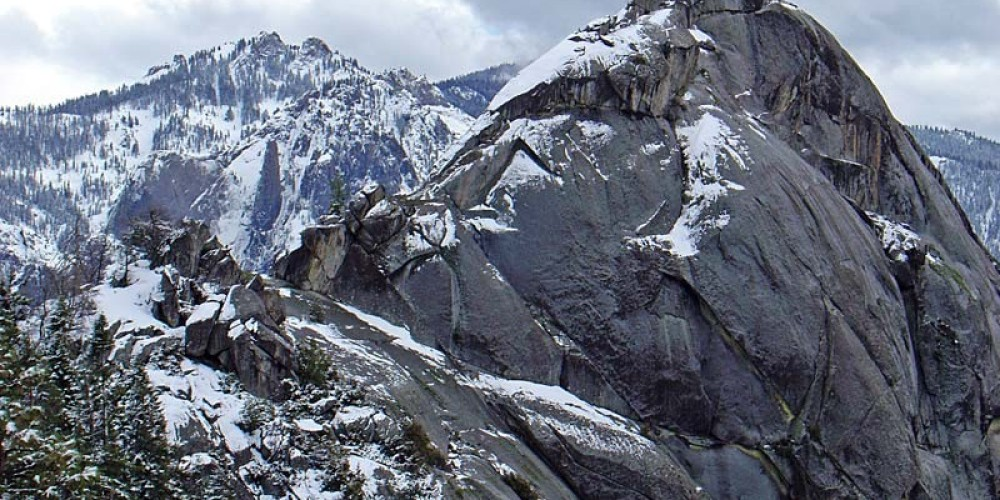 Wisps of snow lace Moro Rock after a winter storm. – NPS