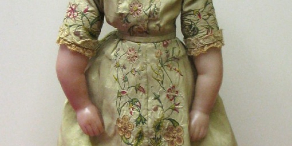 Dolls are made of bisque, china, wax, composition, wood or cloth. This 1850/60 is made of wax. – Karrie Lindsay