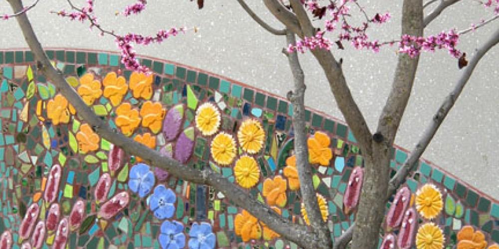 Ceramic Mosaic Garden. Master artists Jerry and Nancy Jonnum, Alex Belman. Located at Three Rivers Union School. – Nadi Spencer