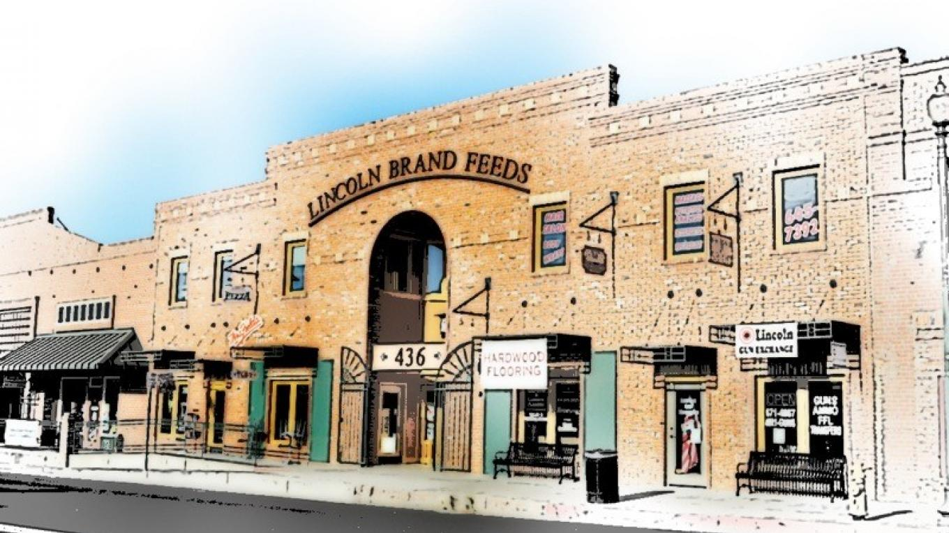 Lincoln Feeds building- site of many great shops and restaurants! – photo art by Jean Cross