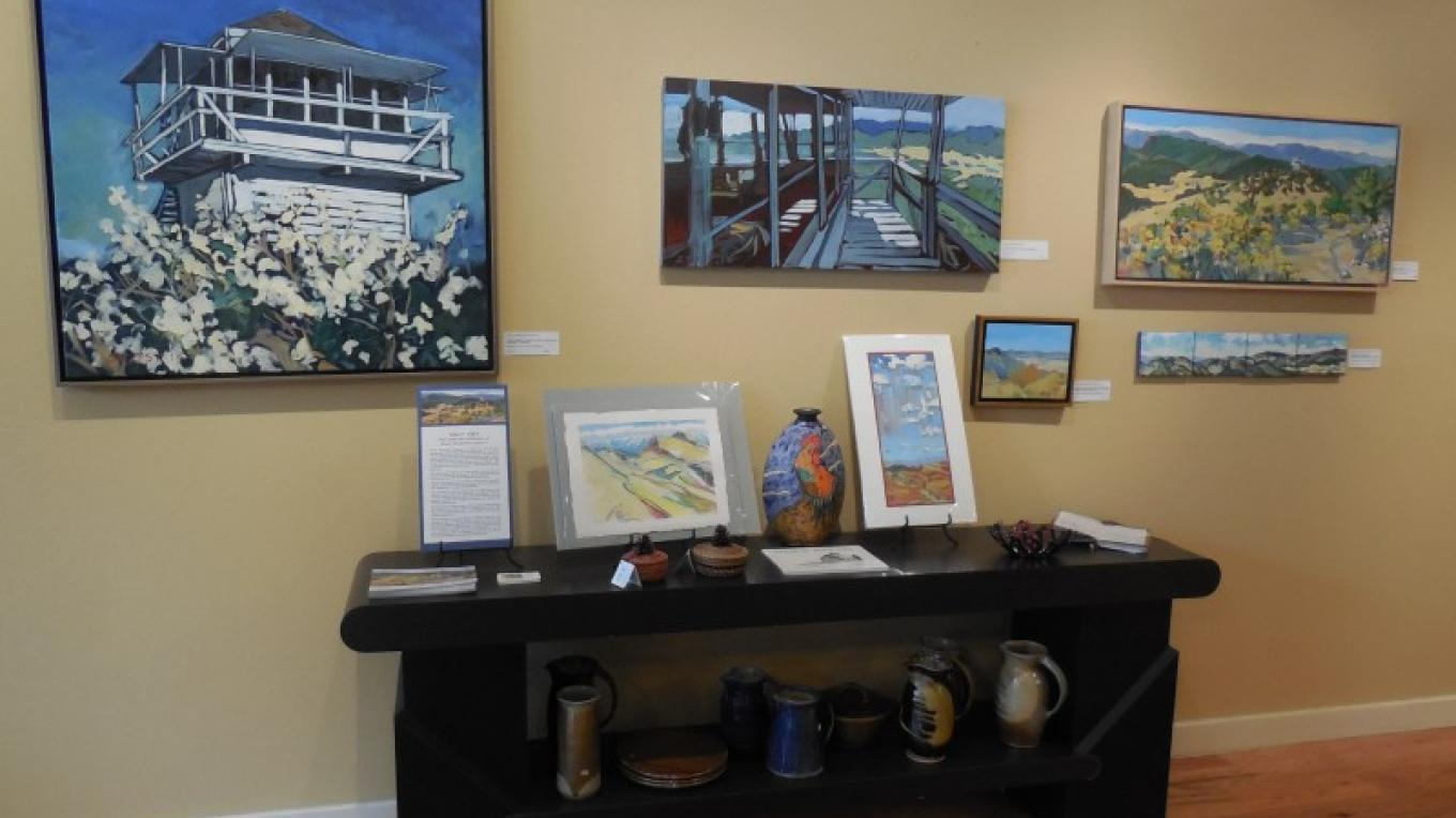 "The Plumas Arts Gallery features a different artist every month. This photo is from Sally Yost's ""Lookout"" show in December 2014. – Roxanne Valladao"